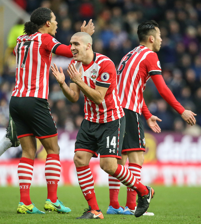 Southampton's Oriol Romeu looks away in disbelief as referee Mark Tierney gives a freekick against him<br /> <br /> Photographer Alex Dodd/CameraSport<br /> <br /> The Premier League - Burnley v Southampton - Saturday 14th January 2017 - Turf Moor - Burnley<br /> <br /> World Copyright © 2017 CameraSport. All rights reserved. 43 Linden Ave. Countesthorpe. Leicester. England. LE8 5PG - Tel: +44 (0) 116 277 4147 - admin@camerasport.com - www.camerasport.com