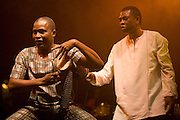 Nice (Cimiez), France. July 24th 2009. .Youssou N'Dour (right) and his band perform at the Nice Jazz Festival.