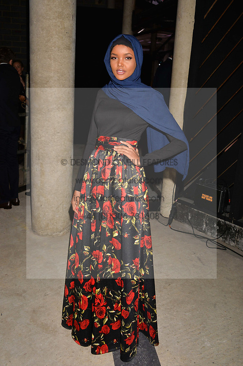 Halima Aden at the Veuve Clicquot Widow Series launch party curated by Carine Roitfeld and CR Studio held at Islington Green, London England. 19 October 2017.
