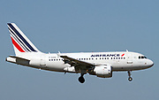 F-GUGG Airfrance Airbus A318 passenger jet at takeoff Photographed at Malpensa Airport, Milan, Italy
