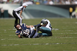 San Diego Chargers running back Danny Woodhead #39 looses his helmet when he is tackled during the NFL game between the San Diego Chargers and the Philadelphia Eagles at Lincoln Financial Field in Philadelphia, Pennsylvania. The Chargers won 33-30. (Photo by Brian Garfinkel)