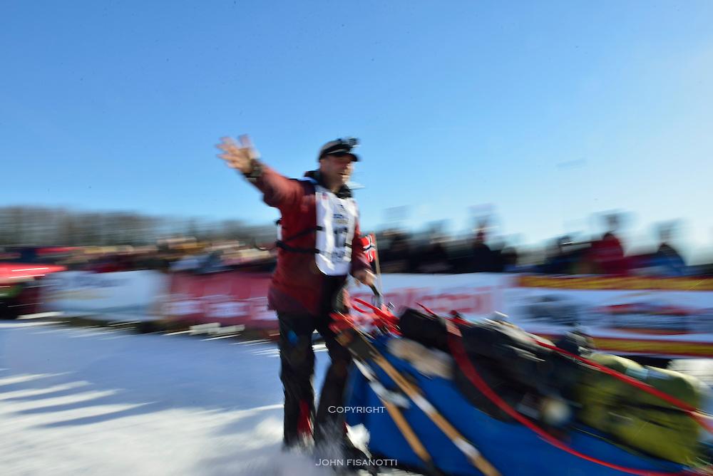 Norwegian musher, Tommy Jordbrudal leaves the re-start in Willow, Alaska.  2014 Iditarod Race.