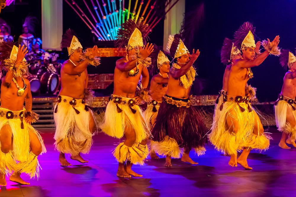 Tamarii Teahupoo dance group performing during  the Winners Showcase, the final night of Heiva i Tahiti (July cultural festival), Place Toata, Papeete, Tahiti, French Polynesia.