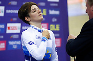 Podium, Maria Giulia Confalonieri (Italy) Gold medal, during the Track Cycling European Championships Glasgow 2018, at Sir Chris Hoy Velodrome, in Glasgow, Great Britain, Day 3, on August 4, 2018 - Photo Luca Bettini / BettiniPhoto / ProSportsImages / DPPI
