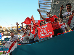 March 23, 2018 - Miami Gardens, Florida, USA - Peruvian fans cheer for the camera before the FIFA 2018 World Cup preparation match between the Peru National Soccer Team and the Croatia National Soccer Team at the Hard Rock Stadium in Miami Gardens, Florida. (Credit Image: © Mario Houben via ZUMA Wire)