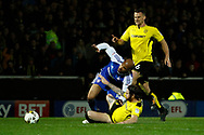 Burton Albion defender John Brayford (3) tackles Ipswich Town striker David McGoldrick (10) in the box to prevent an attack during the EFL Sky Bet Championship match between Burton Albion and Ipswich Town at the Pirelli Stadium, Burton upon Trent, England on 14 April 2017. Photo by Richard Holmes.
