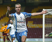 Photo: Aidan Ellis.<br /> Bradford City v Swindon Town. Coca Cola League 1. 11/02/2006.<br /> Swindon's Sean O'Hanlon celebrates scoring the late equaliser
