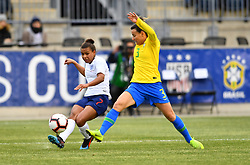 February 27, 2019 - Chester, PA, U.S. - CHESTER, PA - FEBRUARY 27: England Forward Nikita Parris (7) makes a pass around Brazil Defender Jucinara (3) in the first half during the She Believes Cup game between Brazil and England on February 27, 2019 at Talen Energy Stadium in Chester, PA. (Photo by Kyle Ross/Icon Sportswire) (Credit Image: © Kyle Ross/Icon SMI via ZUMA Press)