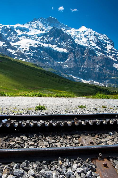 Rack railway for Jungfraubahn funicular train from Kleine Scheidegg to Jungfrau peak in Swiss Alps Bernese Oberland, Switzerland