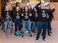"""Town of Wallkill, New York - Members of the cast of """"Shrek the Musical"""" from Warwick High School perform at the Orange County Arts Council All-County High School Musical Showcase and Arts Display at the Galleria at Crystal Run on Feb. 28, 2015. The theme of the event was: """"Arts Build Confidence""""."""