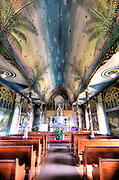 The ceiling of St. Benedict Roman Catholic Church in Captain Cook, Hawaii.