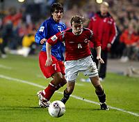 Fotball , 08. oktober 2005 , VM-kvalifisering , Norge - Moldova 1-0<br /> Norway - Moldova<br /> Christian Grindheim , Norge og Serghei Covalciuc Moldova