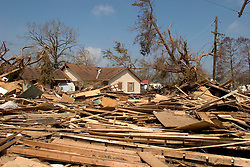 26th Sept, 2005. Cameron, Louisiana. Hurricane Rita aftermath.<br /> The destroyed remains of downtown residences in Cameron, Louisiana two days after the storm ravaged the small town.<br /> Photo; ©Charlie Varley/varleypix.com