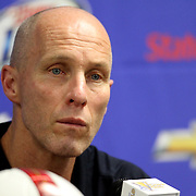 USA head coach Bob Bradley addresses the media after losing a CONCACAF Gold Cup soccer match 2-1 against Panama on Saturday, June 11, 2011, at Raymond James Stadium in Tampa, Fla. (AP Photo/Alex Menendez)