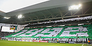 Saint-Etienne flag behind goal in the stand during the Europa League match between Saint-Etienne and Manchester United at Stade Geoffroy Guichard, Saint-Etienne, France on 22 February 2017. Photo by Phil Duncan.