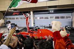 April 8, 2018 - Sakhir, Bahrain - VETTEL Sebastian (ger), Scuderia Ferrari SF71H, celebrating his victory during 2018 Formula 1 FIA world championship, Bahrain Grand Prix, (Credit Image: © Hoch Zwei via ZUMA Wire)