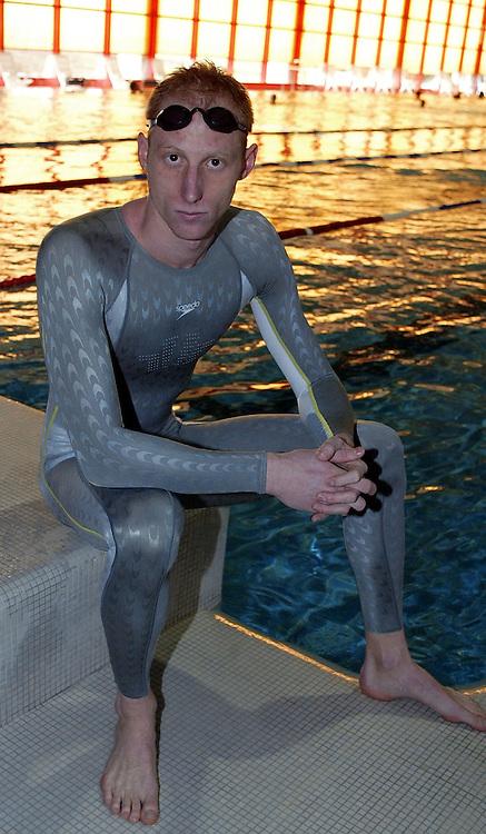 Karel NOVY of Switzerland poses in the new Speedo FASTSKIN FSII (FS2) swim suit on Wednesday, March 10, 2004, in the Waterworld in Wallisellen, Switzerland. (Photo by Patrick B. Kraemer/MAGICPBK)