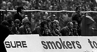 Fotball<br /> England<br /> Foto: Fotosports/Digitalsport<br /> NORWAY ONLY<br /> <br /> DEJECTED ENGLAND BENCH INCLUDING JOHN RICHARDS, MICK CHANNON, RAY CLEMENCE, LES COCKER ALF RAMSEY, HAROLD SHEPPERSON AS ENGLAND LOSE AND FAIL TO QUALIFY FOR 1974 WORLD CUP FINALS