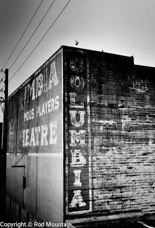 The weather worn signage the Columbia Theatre in New Westminster, BC. Originally built in 1927. <br /> Photo: © Rod Mountain<br /> <br /> @rod_mountain<br /> https://twitter.com/rod_mountain<br /> <br /> http://www.rodmountain.com/archive