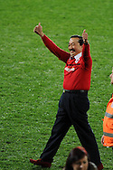 Cardiff city owner Vincent Tan celebrates as Cardiff celebrate promotion to the Premier league. NPower championship, Cardiff city v Charlton Athletic at the Cardiff city stadium in Cardiff, South Wales on Tuesday 16th April 2013. pic by Andrew Orchard,  Andrew Orchard sports photography,