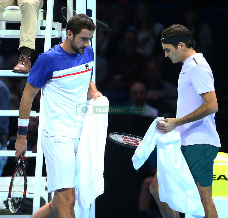 November 16, 2017 - London, England, United Kingdom - Roger Federer of Switzerland against Marin Cilic of Croatia.during Day five of the Nitto ATP World Tour  Finals played at The O2 Arena, London on November 16 2017  (Credit Image: © Kieran Galvin/NurPhoto via ZUMA Press)