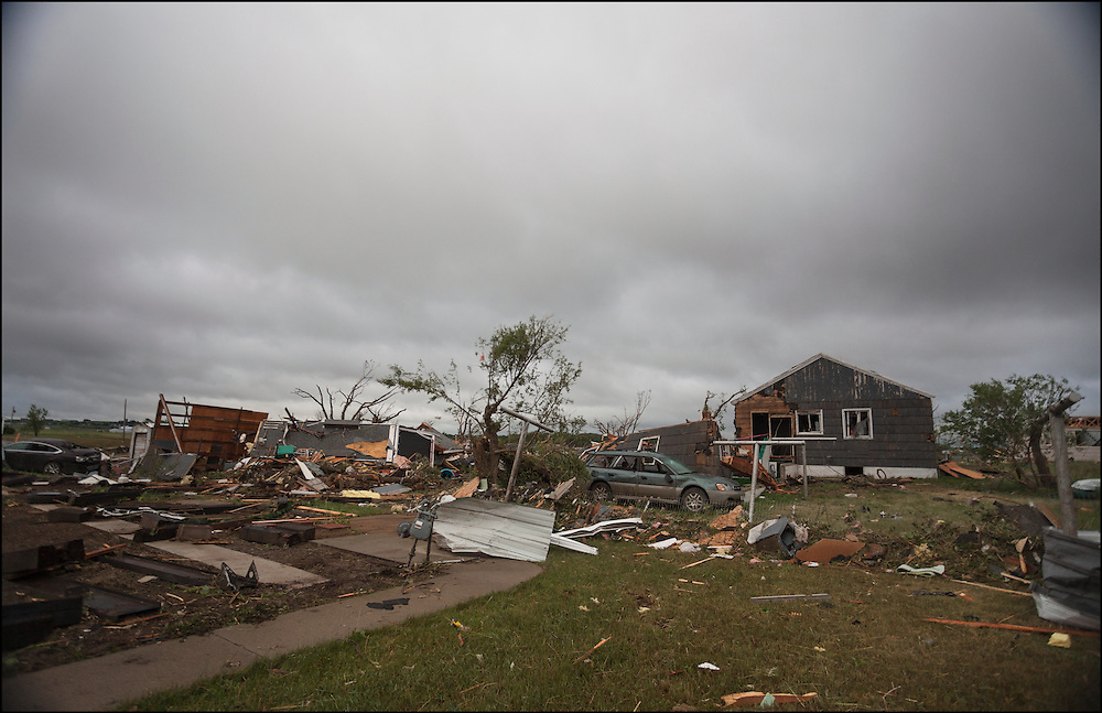 Multiple homes destroyed by an EF-3 tornado in Baker, Montana.