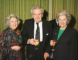 Left to right, MRS ROYCE RYTON, her brother SIR LUDOVIC KENNEDY and his sister MRS ION CALVOCORESSI, at a luncheon in London on 18th March 1999.<br /> MPN 8