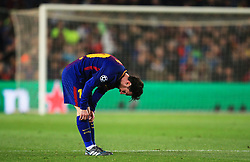 Lionel Messi of Barcelona pulls up his socks - Mandatory by-line: Matt McNulty/JMP - 14/03/2018 - FOOTBALL - Camp Nou - Barcelona, Catalonia - Barcelona v Chelsea - UEFA Champions League - Round of 16 Second Leg