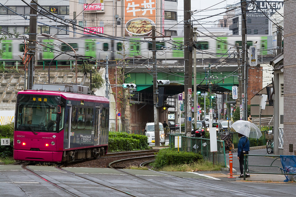 A tram or streetcar on the Toden Arakawa Line in Otsuka, Tokyo, Japan. Friday October 19th 2018