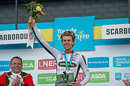 Stage winner Alexander Kamp of Riwal Readynez Cycling Team on the podium at the end of the third stage of the Tour de Yorkshire from Bridlington to Scarborough, , United Kingdom on 4 May 2019.