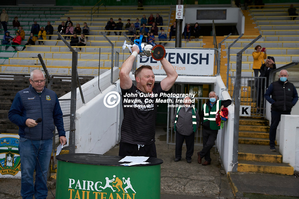 06-08-21, <br /> J2HC 2020 Final at Pairc Tailteann, Navan.<br /> Boardsmill v Dunderry<br /> Dunderry captain - Gareth Dooley celebrates with the cup after defeating Boardsmill in the 2020 J2HC Final<br /> Photo: David Mullen / www.quirke.ie ©John Quirke Photography, Proudstown Road Navan. Co. Meath. 046-9079044 / 087-2579454.<br /> ISO: 1000; Shutter: 1/250; Aperture: 4.5;
