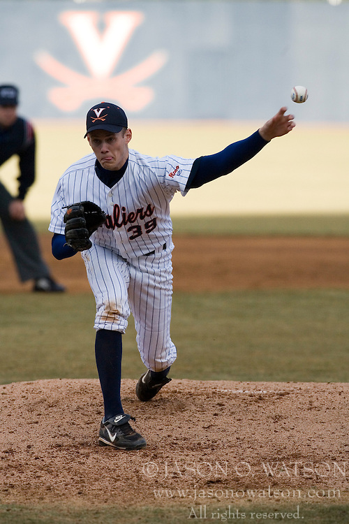Virginia Cavaliers pitcher Neal Davis (39) pitches against VMI. The Virginia Cavaliers Baseball Team defeated the Virginia Military Institute Keydets 5-3 at Davenport Field in Charlottesille, VA on February 27, 2007.