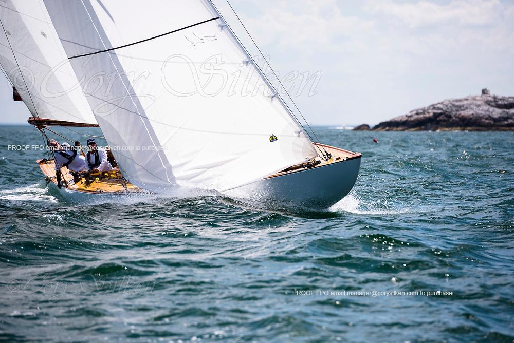Angelita sailing in the Marblehead Corinthian Classic Yacht Regatta, day two.