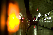 Train lights waiting to depart from platform, Liverpool Street railway station, London, England