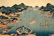 CHICAGO, MUSEUMS and ARTISTS Japanese Art Print depicting Nagasaki Harbor with foreign ships and landscape;