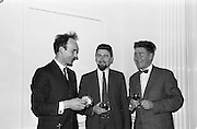 22/10/1963<br /> 10/22/1963<br /> 22 October 1963<br /> Henry Spring and Co. Ltd. reception at the Shelbourne Hotel, Dublin. At the reception to demonstrate Ultra-sonic Cleaning for the Watchmaking and Jewellery Trade were (l-r): Mr. Patrick Moss, Director, Weir and Son; Mr. Peter McCann, Director, M.J. McCann Ltd. and Mr. J.C. McCann, Director, J.C. McCann Ltd..