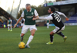 Hibernian's Dylan McGeouch and Raith Rovers Rory McKeown. <br /> Raith Rovers 1 v 2 Hibernian, Scottish Championship game played 24/10/2015 at Starks Park.