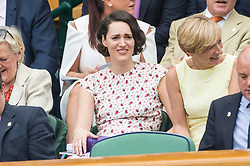 © Licensed to London News Pictures. 05/07/2019. London, UK.  Phoebe Waller Bridge watches centre court tennis in the royal box on Day 5 of Wimbledon Tennis Championships 2019 held at the All England Lawn Tennis and Croquet Club. Photo credit: Ray Tang/LNP