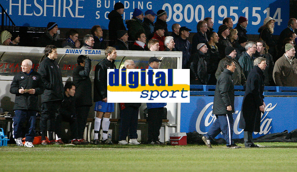 Photo: Steve Bond/Sportsbeat Images.<br /> Macclesfield Town v Hereford United. Coca Cola League 2. 26/12/2007. Graham Turner (R) and the rest of the bench look tense during the closing minutes