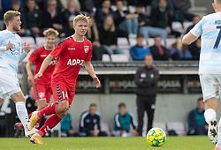 Christian Tue Jensen (FC Fredericia) under kampen i 1. Division mellem FC Fredericia og FC Helsingør den 4. oktober 2020 på Monjasa Park i Fredericia (Foto: Claus Birch).