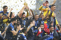 File photo dated 15-07-2018 of France players celebrating with the trophy after winning the 2018 FIFA World Cup final at the Luzhniki Stadium, Moscow. Issue date: Tuesday June 1, 2021.