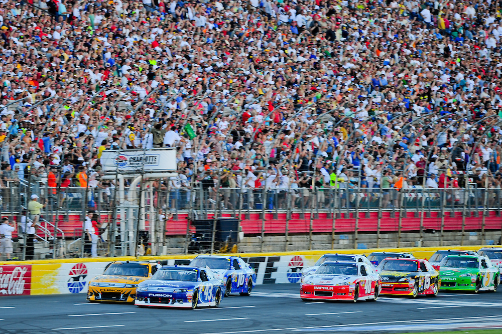 May 24, 2012; Concord, NC USA; NASCAR Sprint Cup Series driver Brad Keselowski (2) starts the Coca-Cola 600 at Charlotte Motor Speedway. Photo by Kevin Liles/kevindliles.com