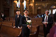 Christine and Alex Kim celebrate their Christian wedding with family and friends from South Korea at Stanford Memorial Church at Stanford University in Stanford, California, on January 24, 2015. (Stan Olszewski/SOSKIphoto)