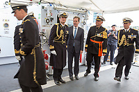 @Licensed to London News Pictures 08 06 2017. Chatham, Medway, Kent. The Royal Prins Maurits of the Netherland arrives on board HNLMS Holland to commemorate the Battle of Medway at Upnor Castle in Kent today. The Battle of Medway took place in 1667 when the Dutch launched a daring assault on the British upon the River Medway at Chatham destroying the whole fleet . Photo credit: Manu Palomeque/LNP