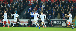 12 February 2017 - Premier League - Swansea City v Leicester City - Alfie Mawson of Swansea City celebrates after opening the scoring (1-0) - Photo: Paul Roberts / Offside