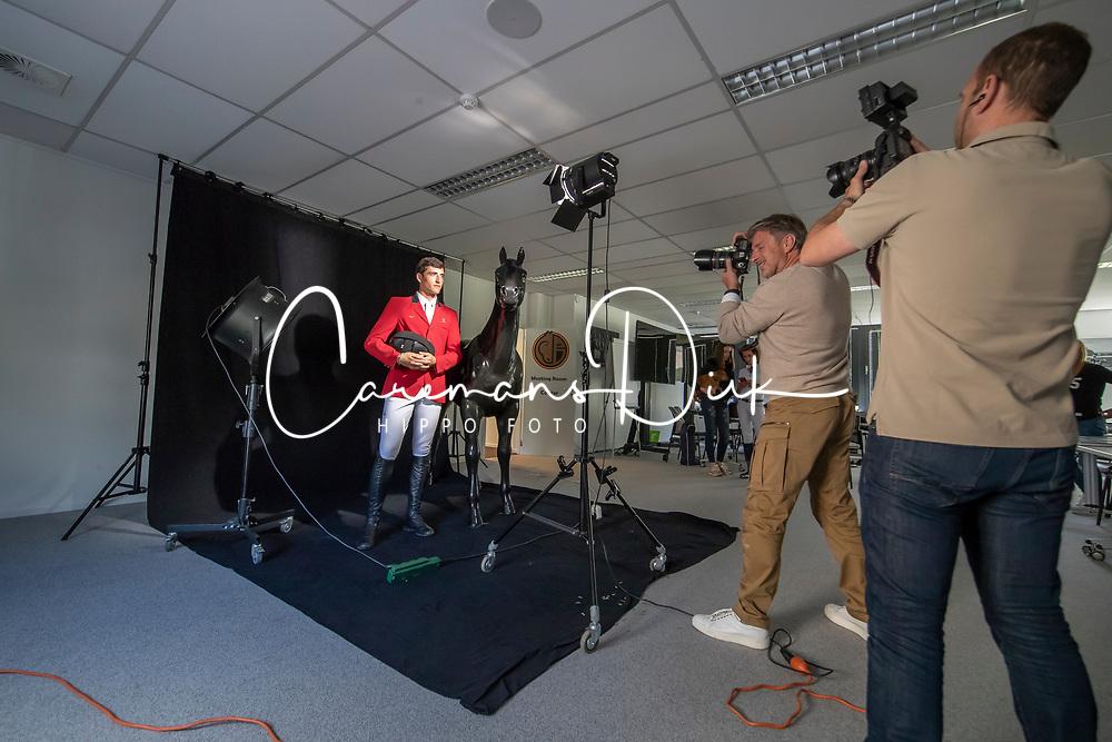 Henk van Cauwenbergh, Olivier Philippaerts, Nicola Philippaerts<br /> Foto shoot met Henk van Cauwenbergh voor KBRSF - Zaventem 2018<br /> © Hippo Foto - Dirk Caremans<br /> 01/05/2018