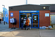 AFC Wimbledon club shop during the EFL Sky Bet League 1 match between AFC Wimbledon and Peterborough United at the Cherry Red Records Stadium, Kingston, England on 18 January 2020.