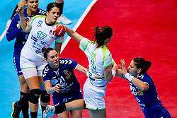 06-12-2019 JAP: Serbia - Slovenia, Kumamoto<br /> last match groep A at 24th IHF Women's Handball World Championship. / Dijana Radojevic #21 of Serbia, Natasa Ljepoja #17 of Slovenia