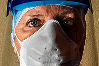 Emergency room nurse wearing Personal Protective Equipment used while fighting the Coronavirus (COVID-19) pandemic, Littleton, Colorado USA.