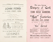 "Munster Minor and Senior Hurling Championship Final,.25.07.1937, 07.25.1937, 25th July 1937,.25071937MSMHCF,..John Ford 1 Cool Street Cork, bets accepted on Horse Racing, Dog Racing,..Lehane's Tuckey Street Cork,..Dwyers of Cork, ""Lee Factories"",""Sold in all towns in the Irish Free State. IRISH CAPITAL, IRISH LABOUR"""